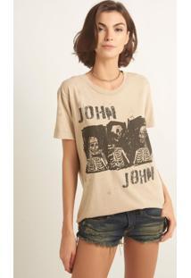 Camiseta John John Gang Skull Malha Bege Feminina (Bege Claro, M)