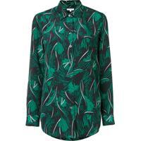 879696f006 Equipment Camisa Com Estampa De Palmeira De Seda - Green