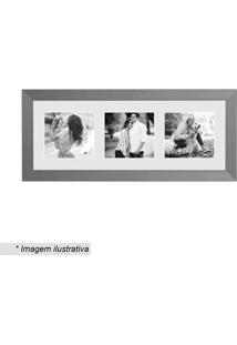 Painel Insta Para 3 Fotos- Prateado & Branco- 15X38Xkapos