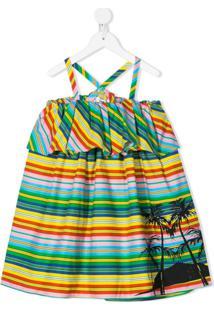 Msgm Kids Vestido Com Listras E Acabamento De Babados - Verde