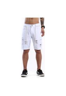 Bermuda Jeans Masculina Rasgada Destroyed