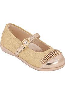 Sapatilha Infantil Plis Calçados - Feminino-Dourado