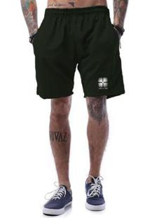 Bermuda Tactel Cellos Flower Premium Masculina - Masculino-Verde Militar