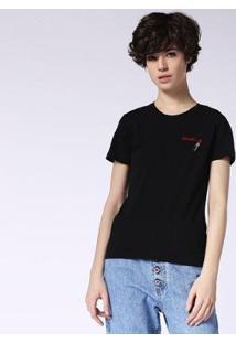 Camiseta Diesel T-Sily-F Feminina - Feminino-Preto