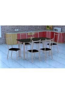 Conjunto De Mesa Granada Com 6 Cadeiras Lisboa Branco Prata E Preto Liso