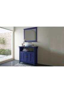 Conjunto De Móveis De Madeira Maciça Para Banheiro - Gabinete E Moldura Com Espelho Retrô/Rústico Maior Mission - Stain Azul Escuro