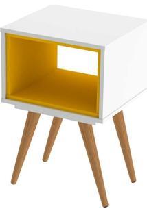 Mesa Lateral Retrô Branco E Amarelo