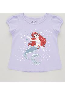 Blusa Infantil Pequena Sereia Ariel Com Glitter Manga Curta Decote Redondo Lilás