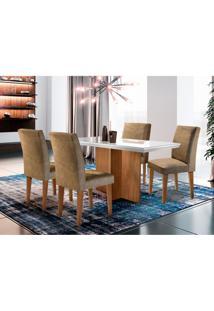 Conjunto De Mesa De Jantar Berlim I Com Vidro E 4 Cadeiras Grécia Suede Chocolate E Off White