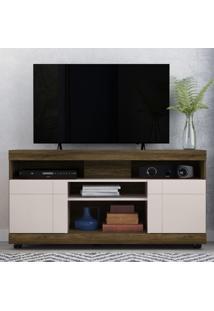 Rack Para Tv Yara Até 55 Polegadas Com Rodízios Canela Rústico/Off White - Colibri Móveis