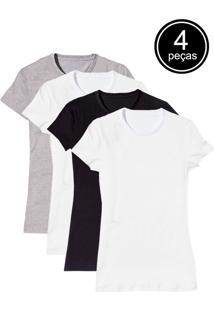 Camiseta Básica Baby Look Gola Redonda Kit 4 Peças Colors - Tricae