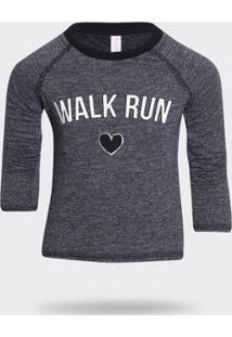 Camiseta Manga Longa Walk - Feminino-Cinza