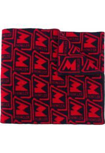 Moncler Cachecol De Tricô Com Padronagem De Logo - Vermelho