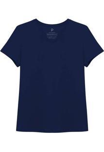 Camiseta Reta Feminina Gola V Azul