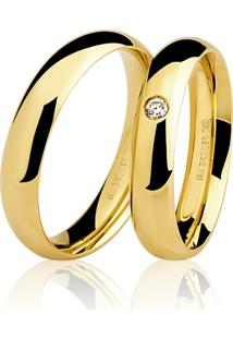Aliança Kumbayá Lisa Em Ouro 18K Com 2,8 Mm De Largura Anatômica Com Pedra Diamante