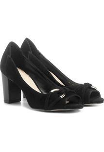Peep Toe Couro Shoestock Salto Grosso Metal - Feminino
