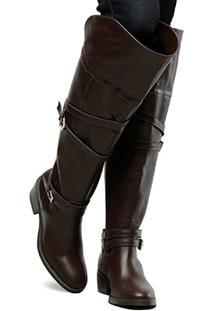 848fc5294d Bota Couro Over The Knee Shoestock Fivelas Feminina - Feminino-Marrom