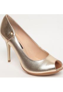 Peep Toe Em Couro Com Tag- Dourado- Salto: 10Cmjorge Bischoff