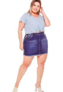 Mini Saia Almaria Plus Size Fact Jeans Desfiada Je