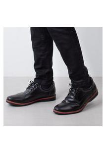 Sapato De Couro Com Cadarço 4120 Preto