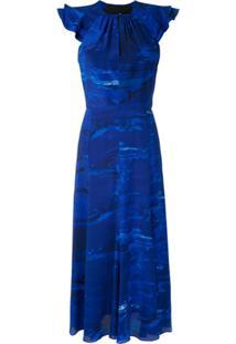 Andrea Marques Vestido Com Babados Estampado - Azul