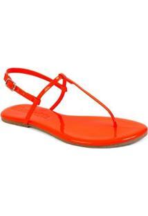 Sandália Flat Básica Mercedita Shoes Verniz Feminina - Feminino-Laranja
