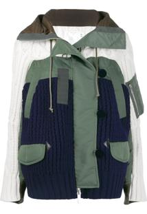 Sacai Panelled Knit Jacket - Verde