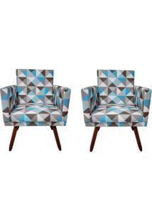 Kit 02 Poltronas Decorativa Pés Palito Nina Com Rodapé Suede Triangulo Azul - Ds Móveis