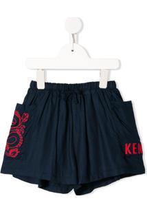 Kenzo Kids Short Com Bordado - Azul