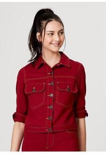 Jaqueta Em Malha De Algodão Com Bolso Hering Feminina - Feminino-Vermelho