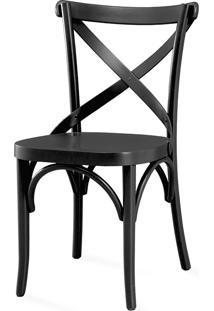 Cadeira X De Madeira - Laca Preta - Madeleine - 50X54,5X86 Cm