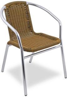 Cadeira Alumínio Ibiza Acasa Móveis Preto/Amarelo/Cromado