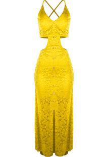 5af1b180e Vestido Outletdri Longo Rendado Forrado Alcinha Fenda E Decote Lateral  Amarelo