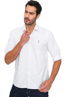 Camisa Aleatory Slim Quadriculada Branca/Azul-Marinho