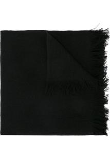 Yohji Yamamoto Echarpe De Lã Com Acabamento Desfiado - Preto