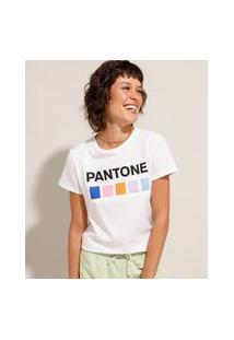 Camiseta De Algodão Pantone Manga Curta Off White