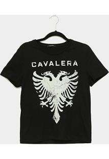 Camiseta Cavalera Tee Girl Aguia Craquelada Feminina - Feminino-Preto