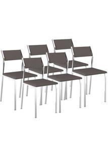 Cadeira Carraro 1709 Cacau,Cromado 6 Cadeiras