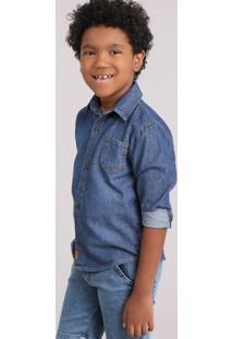 Camisa Infantil Jeans Com Bolso Gola Esporte Manga Longa Azul Médio