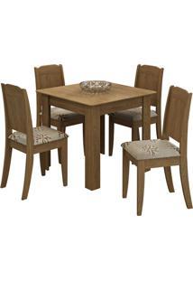 Sala De Jantar Suly 90 Cm Com 4 Cadeiras Savana
