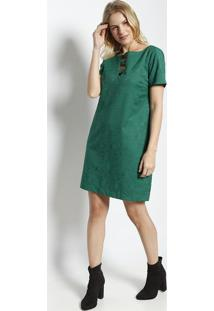 Vestido Jacquard Com Recortes- Verde Escuro- Ahaaha