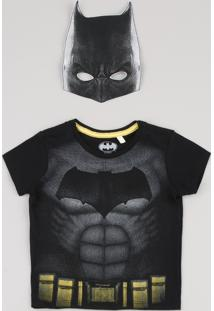 Camiseta Infantil Carnaval Batman Manga Curta + Máscara Preta