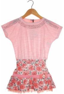 Vestido Turma Da Malha Flamê Curto Menina Rosa