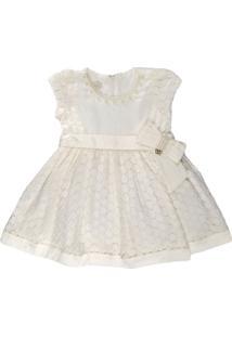 Vestido Infantil Chic Off White Rendado - Anjos Baby Chic Off-White