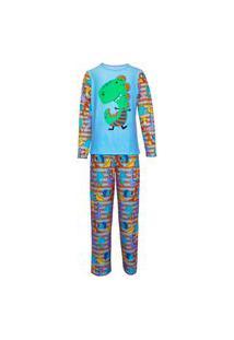 Pijama Menino Manga Longa E Calça Isabb Dinossauro Azul