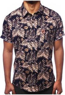 Camisa Camaleão Urbano Folhagem Tropical Ouro Masculina - Masculino-Preto
