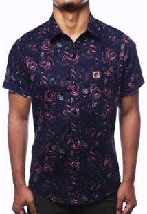 Camisa Camaleão Urbano Florida Rosas Dark Masculina - Masculino-Preto
