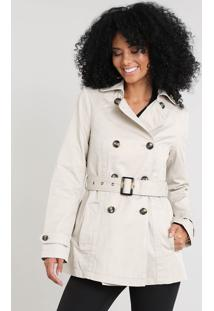 Casaco Trench Coat Feminino Com Bolsos Bege Claro