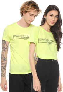 Camiseta Colcci No Gender Neon Lettering Verde