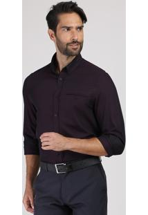Camisa Social Masculina Comfort Com Bolso Manga Longa Roxa